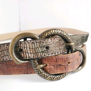 Leatherock | Brown Leather Double Strap Belt